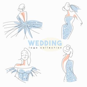 Collezione logo matrimonio con sposa line art in abito scintillante