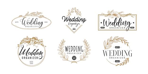 Modello di set logo matrimonio, logotipo organizzatore di nozze