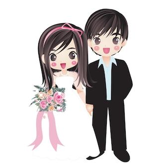 Matrimonio coppia sposata marito e moglie felicità coppia personaggio dei cartoni animati disegno manga anime
