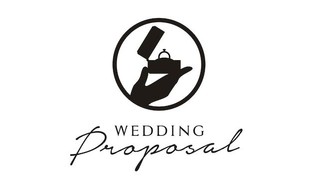 Disegno del logo di proposta matrimonio / matrimonio