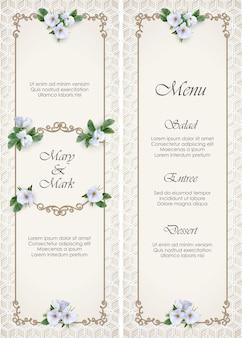 Carta del menu di nozze con cornice dorata decorativa e fiori bianchi