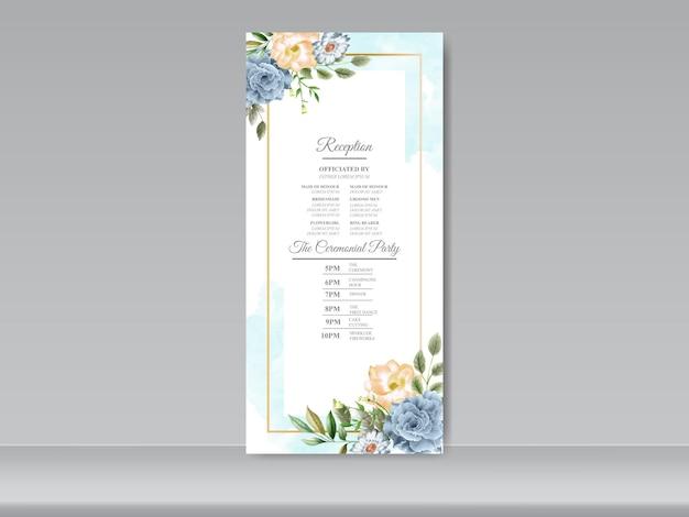Modello di menu di nozze con fiori disegnati a mano