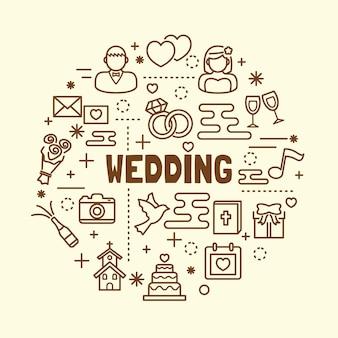 Set di icone di nozze minimal linea sottile