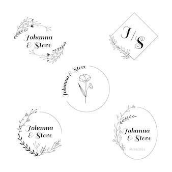 Insieme di marchio monogramma di nozze