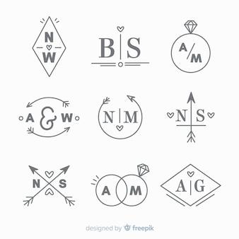 Collezione di modelli di logo monogramma di nozze Vettore Premium