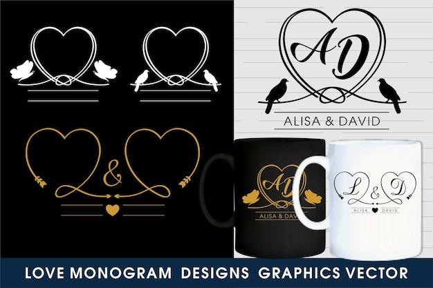 Vettore grafico dei modelli di logo del monogramma di nozze