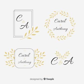 Collezione di modelli di matrimonio monogramma loghi