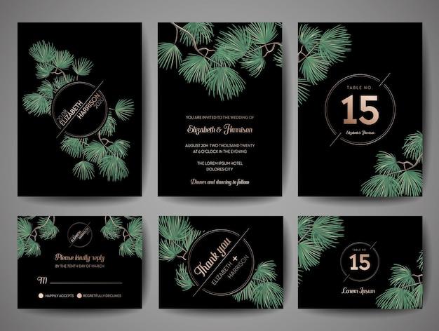 Biglietto d'invito per matrimonio con monogramma di pino, modello di data con disegno di lamina d'oro, illustrazione vettoriale