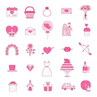 Set di icone di contorno di nozze