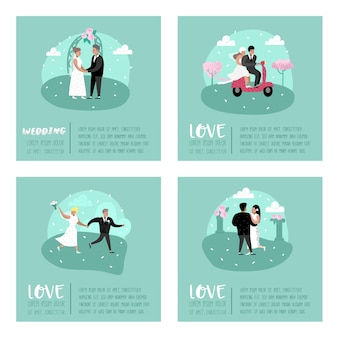 Wedding people cartoons personaggi della sposa e dello sposo poster card