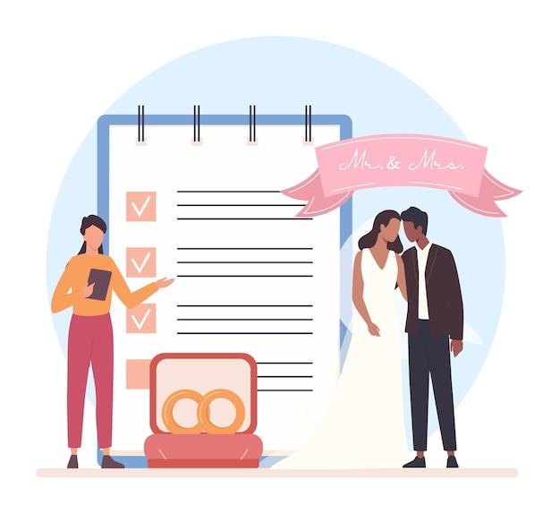 Concetto di wedding planner. organizzatore professionista che pianifica un evento di matrimonio. organizzazione di catering e intrattenimento. pianificatore di matrimoni di sposi. illustrazione vettoriale isolato