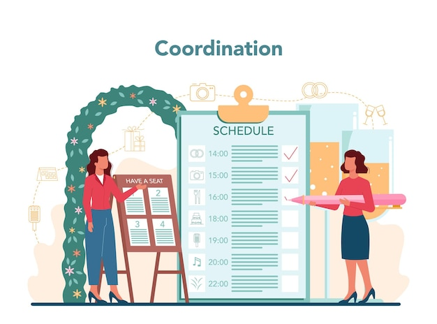 Concetto di wedding planner. organizzatore professionista che pianifica un evento di matrimonio. consulenza e organizzazione dei servizi. coordinazione matrimonio sposa e fidanzato. illustrazione vettoriale isolato