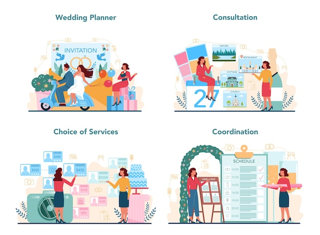 Insieme di concetto di wedding planner