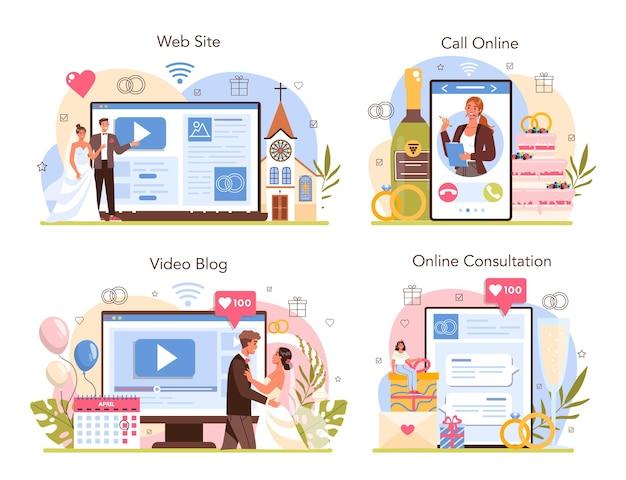 Servizio online di wedding planner o set di piattaforme. pianificazione dell'organizzatore