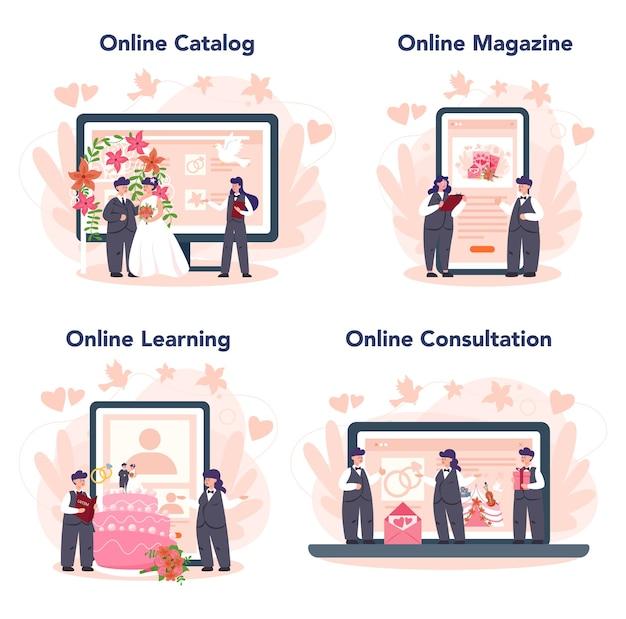 Servizio online di wedding planner o set di piattaforme. organizzatore professionista che pianifica un evento di matrimonio. catalogo online, rivista, apprendimento, consultazione.