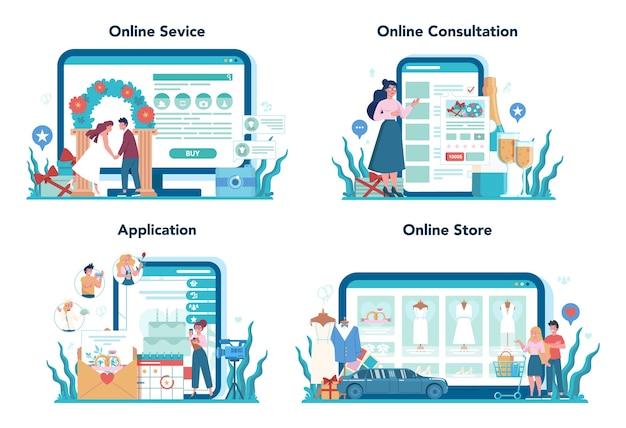 Servizio online di wedding planner o set di piattaforme. organizzatore professionista che pianifica un evento di matrimonio. consultazione online, applicazione, negozio online.