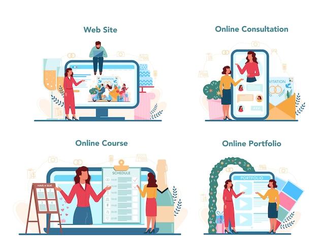 Servizio online di wedding planner o set di piattaforme