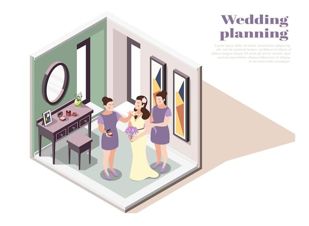 Illustrazione di pianificazione del matrimonio con personaggi femminili che preparano la sposa per la cerimonia di matrimonio
