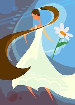 Manifesto di nozze con fiore della holding della sposa. design da cartolina in stile cartone animato.