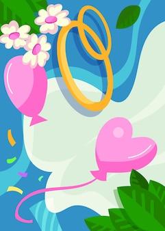 Poster di nozze con anelli e palloncini. design da cartolina in stile cartone animato.