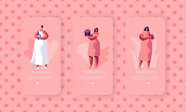 Set schermo a bordo pagina per app mobile preparazione matrimonio. bella sposa con abito bianco da indossare bouquet. damigella d'onore nel concetto di vestiti rosa per sito web. illustrazione di vettore del fumetto piatto