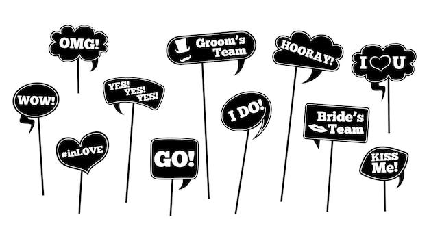 Oggetti di scena di nozze. set di cartelli con frasi