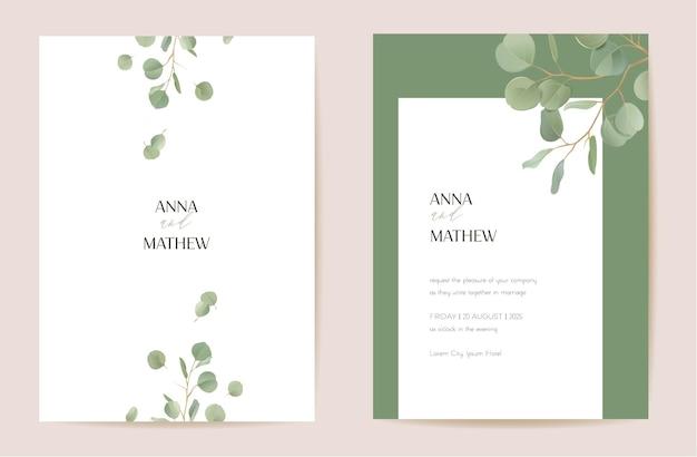 Matrimonio eucalipto realistico, rami di foglie verdi floreali save the date set. il vettore lascia la carta dell'invito di boho verde. cornice modello acquerello, copertina fogliame, poster moderno, design alla moda