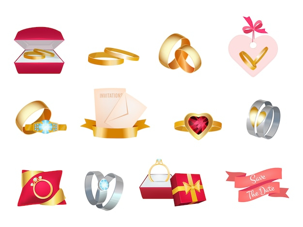 Fedi nuziali. matrimonio bouquet invito icona torta e abito da sposa amore simboli di nozze