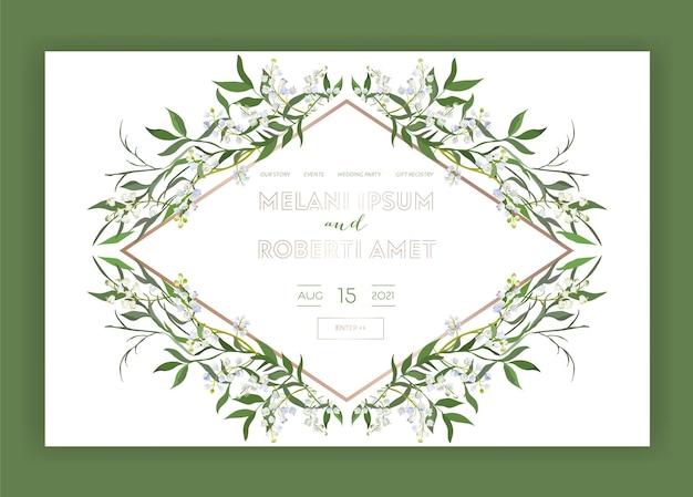 Modello di pagina di destinazione floreale del negozio internet del salone di nozze. sito web della pagina web dell'insegna di vendita di primavera con i fiori. invito a nozze design romantico. illustrazione vettoriale