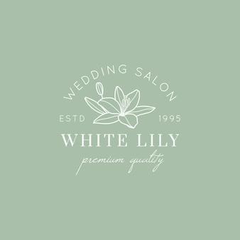 Logo del salone di nozze con fiore di giglio in uno stile lineare minimale. emblema floreale vettoriale e icona per salone da sposa, boutique, negozio di moda