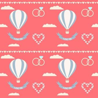 Matrimonio senza cuciture romantico motivo decorativo sfondo con cuori dei cartoni animati e mongolfiere isolati su sfondo elegante per l'uso nel design per carta, invito, poster, copertina del cartello