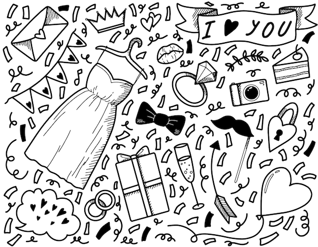 Elementi del set di nozze per il doodle lineare delle vacanze
