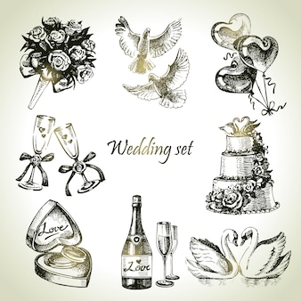 Insieme di nozze. illustrazione disegnata a mano