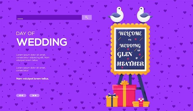 Volantino di concetto di segno di matrimonio, banner web, intestazione dell'interfaccia utente, entra nel sito. .