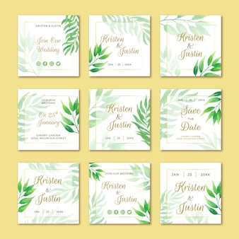 Matrimonio post sui social media con foglie