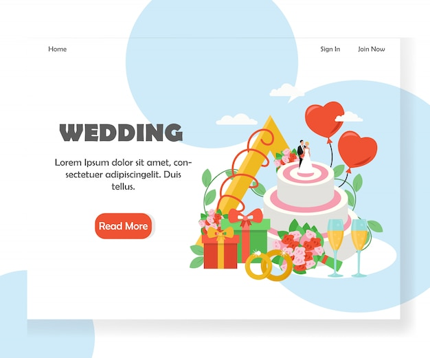 Modello dell'insegna della pagina di atterraggio del sito web di vettore di nozze