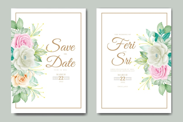 Biglietto di invito a nozze con acquerello floreale
