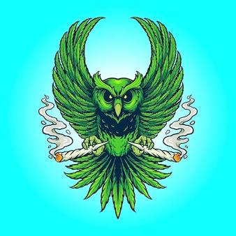 Weed owl smoking cannabis illustrazioni vettoriali per il tuo lavoro logo, t-shirt di merce mascotte, adesivi e disegni di etichette, poster, biglietti di auguri pubblicitari società o marchi.