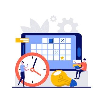 Programma settimanale, gioco quotidiano, concetti di organizzatore di lavoro con carattere.