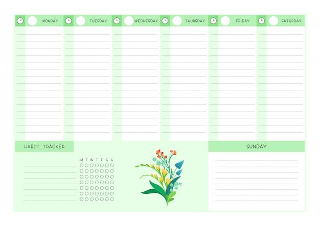 Modello piatto di fiori selvatici tracker calendario e abitudine settimana. progettazione del calendario con fioriture floreali e petali su sfondo bianco. pagina vuota dell'organizzatore di attività personali per planner