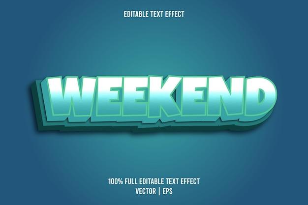 Fine settimana effetto testo modificabile stile fumetto colore ciano