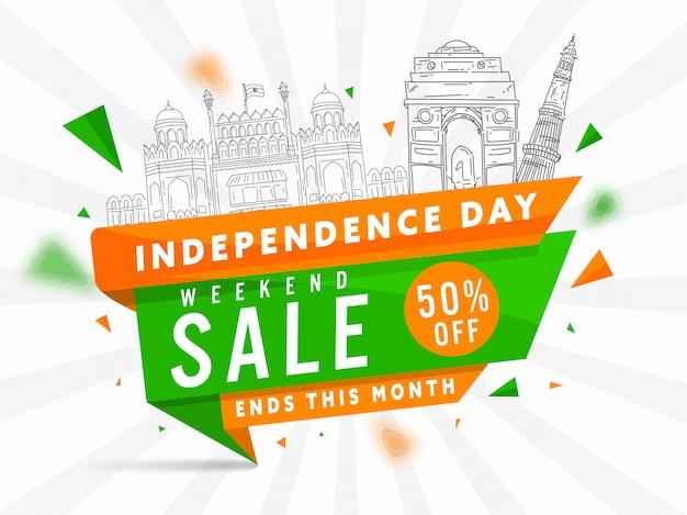 Poster di vendita di fine settimana e monumenti famosi di line art india su sfondo di raggi bianchi per il giorno dell'indipendenza.