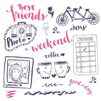 Weekend sketch art romantico insieme di elementi disegnati a mano con cabina telefonica, foto e bicicletta. per illustrazione vettoriale di biglietto di auguri.