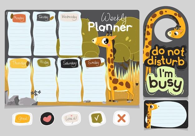 Il pianificatore settimanale e non disturbare l'etichetta appesa con il tema dell'illustrazione della giraffa carina disegnata a mano