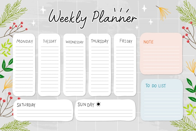 Pianificatore settimanale e lista delle cose da fare, nota.