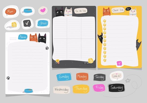 Agenda settimanale e pacchetto di elenchi di cose da fare con il tema dell'illustrazione del gatto carino disegnato a mano