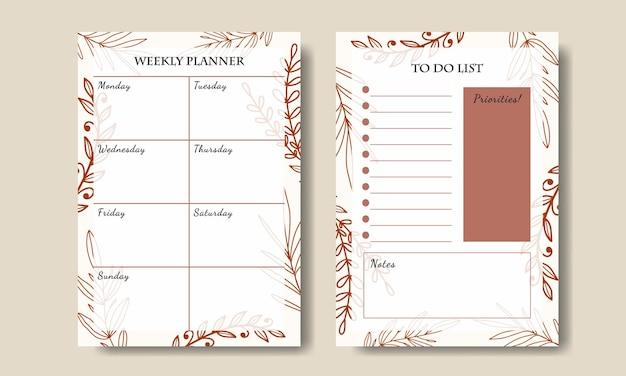 Modello di elenco delle cose da fare per pianificatore settimanale con foglia d'arte al tratto disegnato a mano