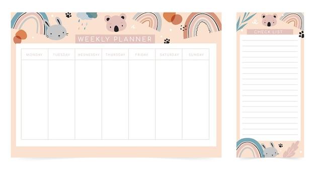 Modello di pagina del pianificatore settimanale, elenco delle cose da fare con simpatici animali in stile cartone animato.