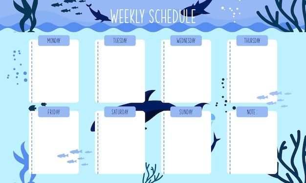 Modello di pianificatore settimanale design creativo per pianificatore quotidiano