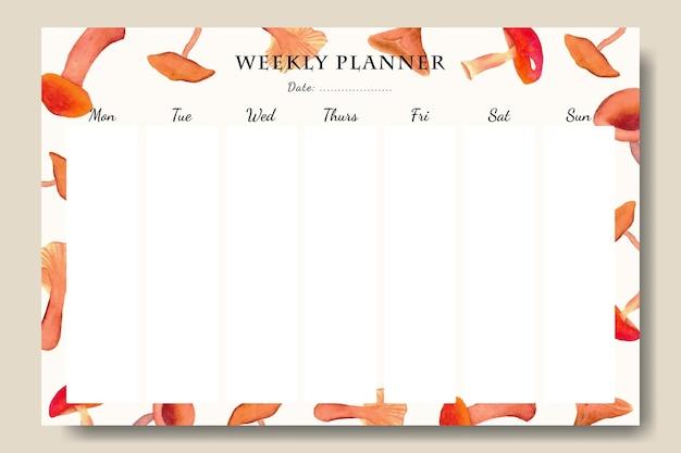 Modello di agenda settimanale con sfondo di elementi di funghi ad acquerello